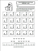 math worksheet : free halloween multiplication worksheets  multiplication  : Multiplication Halloween Worksheets