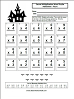 Printables Halloween Multiplication Worksheets free halloween multiplication worksheets com fours word puzzle