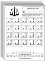 Free Character Trait Multiplication Worksheets