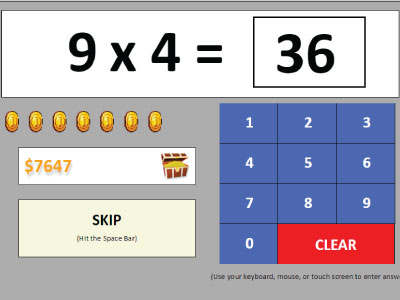 Multiplication Complete Coin Quiz