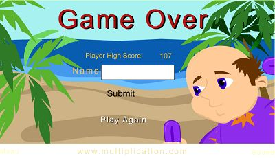Game Over in Beach Rush | Multiplication.com