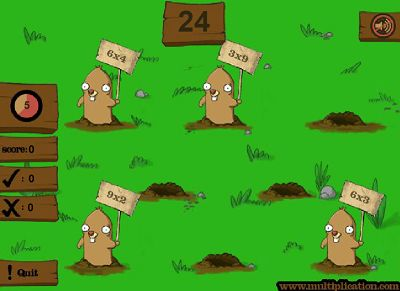 Select Mode of Bonk the Mole   Multiplication.com