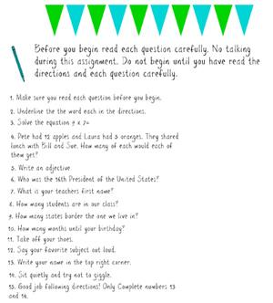 Do You Follow Directions? worksheet by Heather Kaczmarek | TpT