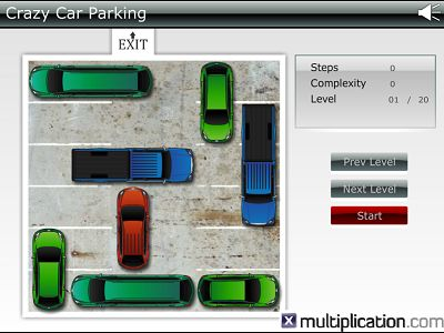 Move the Cars Back and Forth in Crazy Car Parking | Multiplication.com