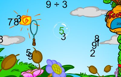 Right Answers are Green in Bubble Bugs Divsion | Multiplication.com