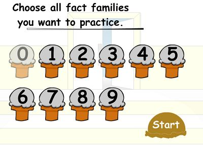 Choose Fact Families in Cone Crazy Division | Multiplication.com