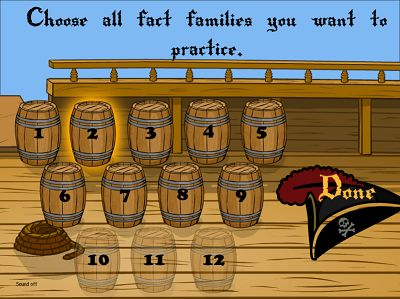 Choose Fact Families for Pirates II Division | Multiplication.com