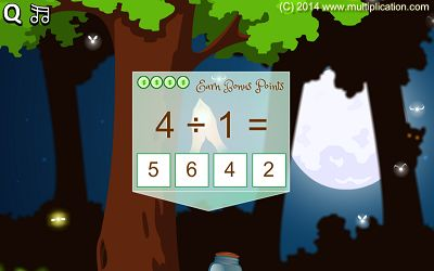 Answer Division Facts in Pixie Catcher Division | Multiplication.com