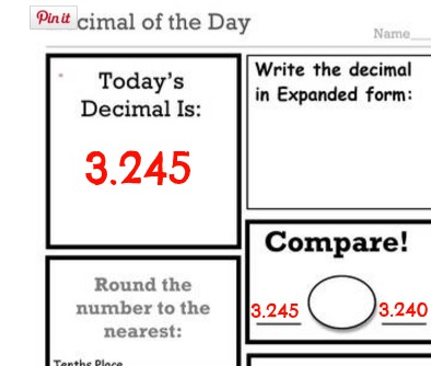 Decimal, Fraction and Number-of-the-Day Worksheets