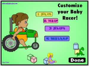 Design Your Baby Racer in Diaper Derby Subtraction | Multiplication.com