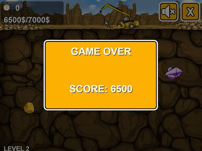 Game Over in Gold Miner | Multiplication.com