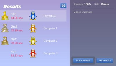 Win a Trophy in Penguin Jump Multiplication | Multiplication.com