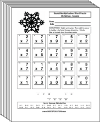 Free Secret puzzle More Christmas multiplication worksheets - Multiplication.com