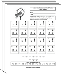 Free Secret puzzle Circus multiplication worksheets - Multiplication.com