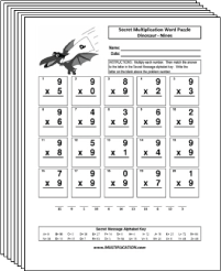Free Secret puzzle Dinosaur multiplication worksheets - Multiplication.com