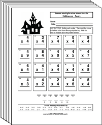 Free Secret puzzle Halloween multiplication worksheets - Multiplication.com