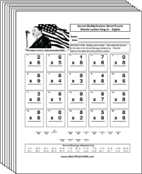 Free Secret puzzle Martin Luther King Jr. multiplication worksheets - Multiplication.com