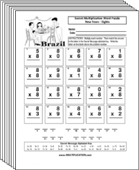 Free Secret puzzle New Years multiplication worksheets - Multiplication.com