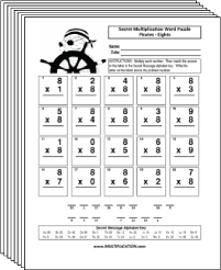 Free Secret puzzle Pirate multiplication worksheets - Multiplication.com
