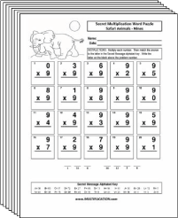 Free Secret puzzle Safari Animals multiplication worksheets - Multiplication.com