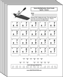 Free Secret puzzle Sports multiplication worksheets - Multiplication.com