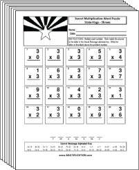 Free Secret puzzle Even More State Flags multiplication worksheets - Multiplication.com