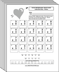 Free Secret puzzle Valentines multiplication worksheets - Multiplication.com