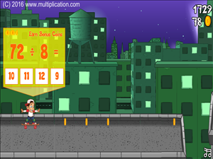 Rooftop Ride Division - Grab a magic coin to practice the times tables