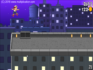 Jump Over Obstacles in Rooftop Ride Multiplication | Multiplication.com