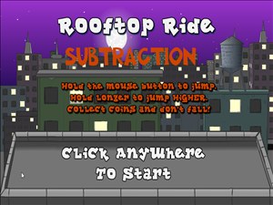 Rooftop Ride Subtraction - Opening screen and directions for the game