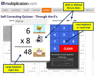 Self Correcting Multiplication Quiz