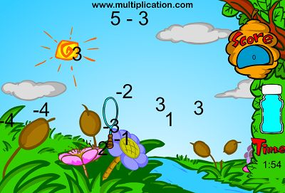 Catch the Answers with Bubbles in Bubble Bugs Subtraction | Multiplication.com