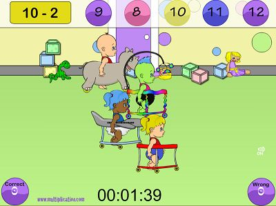 Solve the Subtraction Problems in Diaper Derby Subtraction | Multiplication.com