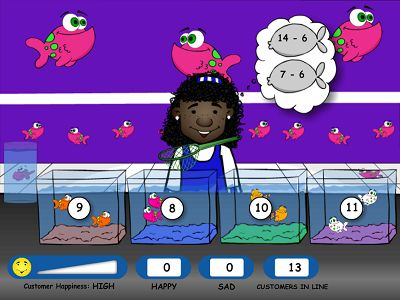 Level Two of Fish Shop Subtraction | Multiplication.com