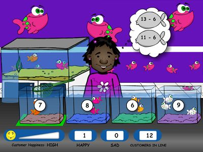 Level Three of Fish Shop Subtraction | Multiplication.com