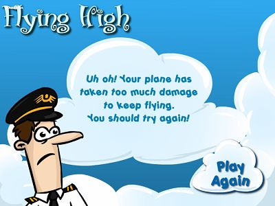 Game Over in Flying High Subtraction | Multiplication.com