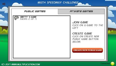 Join a Public Game in Math Speedway Challenge Subtraction | Multiplication.com