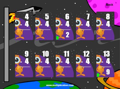 The Outer Space Theme in Quick Flash II Subtraction | Multiplication.com
