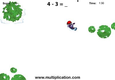 Hit the Slopes in Snowboard Challenge Subtraction   Multiplication.com