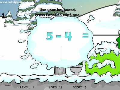 Solve Facts in Snowy's Friend Subtraction | Multiplication.com