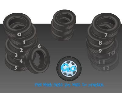 Choose a Fact Family in Tony's Tires Subtraction | Multiplication.com