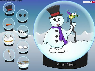 Decorate the Snowman in Snowman Fun | Multiplication.com