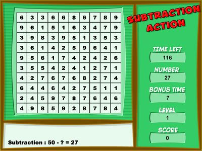 Clear the Grid in Subtraction Action | Multiplication.com