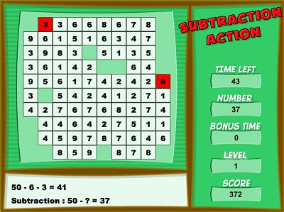 Pratice Subtraction in Subtraction Action | Multiplication.com