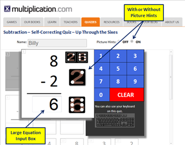Self Correcting Subtraction Quiz Overview