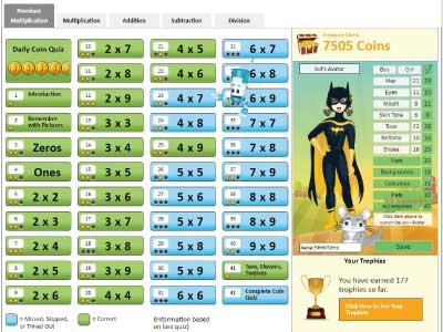 Student dashboard - Multiplication.com