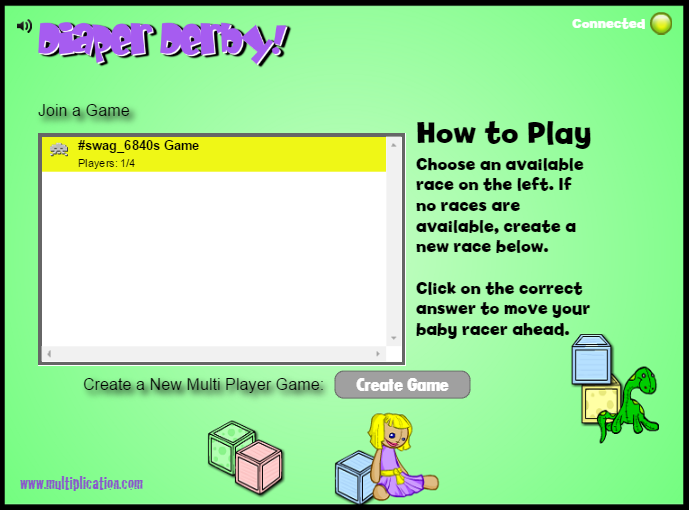 Join a Game in Diaper Derby Multiplayer Division | Multiplication.com