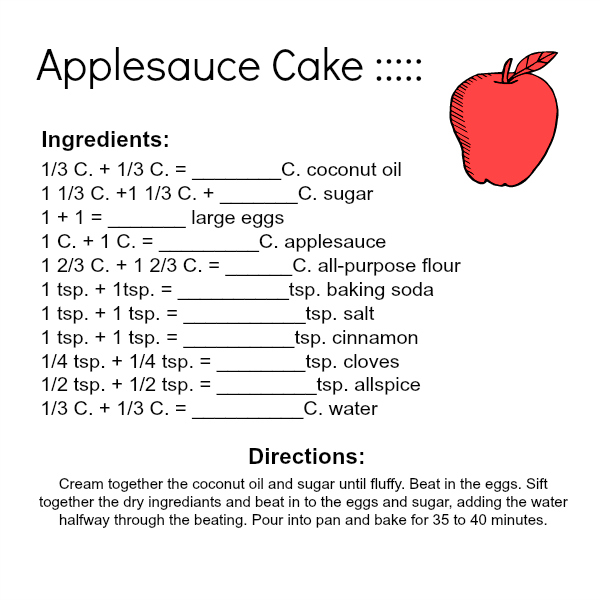 Making Applesauce Worksheets : Applesauce cake kitchen math and pdf