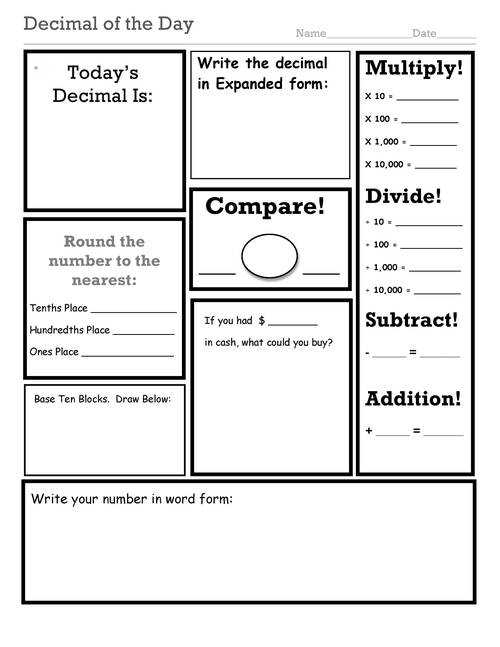 {Decimal Fraction and NumberoftheDay Worksheets – Decimal of the Day Worksheet