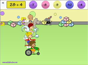 Solve the Division Facts in Diaper Derby Multiplayer Division | Multiplication.com